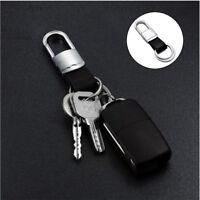 Luxury Men Black Leather Strap Car KeyChain Creative Alloy Key Chain Ring Keyfob