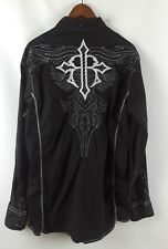 Mens ROAR for Buckle Black Embroidered Long Sleeve Button Up Shirt Size XL