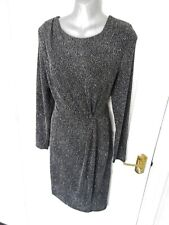 ❤ NEXT 14 Black White Silver Shimmer Stretchy Pencil Wiggle Dress NEW RRP £50