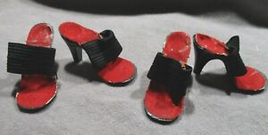"""Vintage Doll Accessories - Red & Black High Heel Shoes for 18""""-20"""" Dolls"""