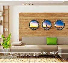 3D Fenêtre Coucher De Soleil Tour Scenic Amovible Autocollant Mural Décoration