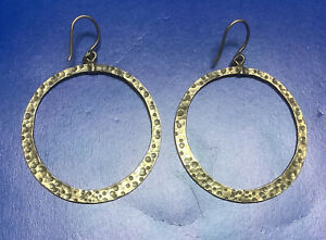 Silpada Sterling Silver Hammered Textured Round Hoop Dangle Earrings