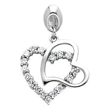 Heart Charm Love Pave Fancy 15x15 mm Cz Two Hearts Pendant Solid 14k White Gold