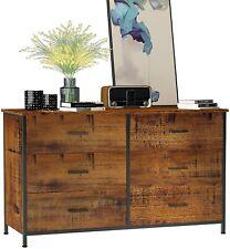 Used 6 Drawers Double Dressers Furniture Bedroom Storage Organizer Wood Frame