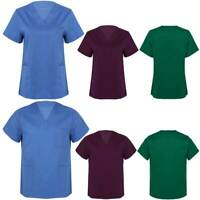 Women Scrub Medical Uniform Top Men Tunic Nurse Hospital Short Sleeves Workwear