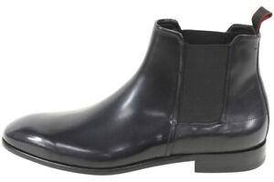 Hugo Boss Men's Dressapp Black Leather Dressy Ankle Boots Shoes