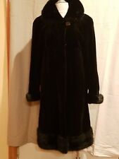 BLACK SHEARED MINK COAT WITH MINK COLLAR CUFFS AND BOTTOM ELEGANT!!!!!!!!!