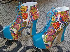 "Bumper 5"" High Heel Platform Closed Toe Side Zip Multicolor Floral Pumps 6.5"
