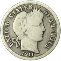 1911 10c Barber Silver Dime US Coin Average Circulated