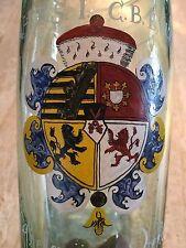 Wappenpokal Grünglas, WAPPEN KURFÜRST VON SACHSEN um 1850, Emailmalerei, H 24cm