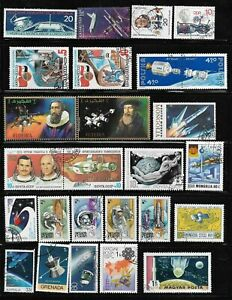 Space Rocket Ships Apollo Lunar Packet Lot of 26 Topical Stamp Collection used
