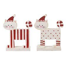Shabby Chic De Madera Rojo y Blanco de Pie Gato Navidad Decoración Regalo Conjunto de 2