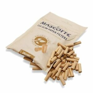 Mascotte Organic Unbleached Extra Long Filters Tips 120 Slim Paper Resealable