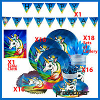 104 Pcs Unicorn Birthday Party Supplies Pack for 16 Guests Unicorn party table