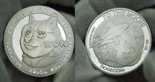 Physical Dogecoin Doge Silver-Plated Metal Coin Round Token Crypto Bitcoin Moon