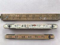 Vintage Antique Folding Rulers Lot Of 3 Stanley, Eagle, Blue-Tip Carpenter