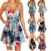Women Sleeveless Sexy Floral Short Summer V-Neck Maxi Canonicals Fashion Dress