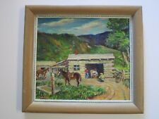 ANTIQUE PAINTING SIGNED HURLEY OR HUREY WESTERN IMPRESSIONIST FARM AMERICAN VNTG