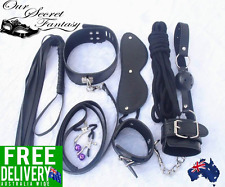 Sexy Black 7 Piece Set Bedroom Fantasy Role Play Kit Handcuff Whip Mask Rope