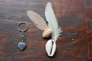 Pretty Handmade Smokey Quartz Heart Stone & Silver Flower Charm Keyring Key Ring