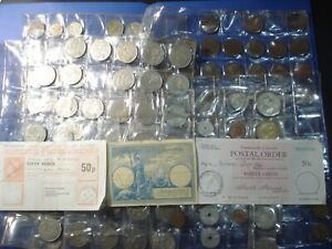 Deceased Estate Lot3 World Coins Imperial Reply Coupon Postal Orders Half Penny