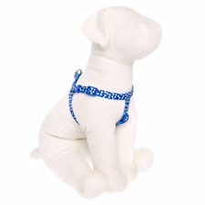 Top Paw Dog Royal Blue Nylon Bone Print Adjustable Step In Harness Medium Large
