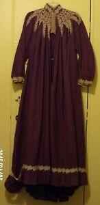 Antique Victorian Wrapper, Tea Gown, Morning Dress, Pleated, Cotton Lace trim