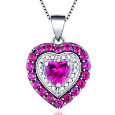 MABELLA Sterling Silver 4.0ct Ruby Heart Shaped Pendant Necklace