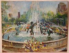 "Original Art - ""Chicago Swan Fountain"" by Dwight Owen Kalb"