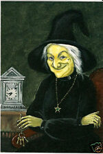 ACEO HALLOWEEN WITCH CLOCK PRINT OF PAINTING ART HAUNTED PORTRAIT ANTIQUE STYLE