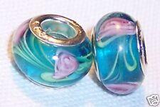 Aqua Blue Pink Flowers Murano Glass Bead fits Silver European Charm Bracelets