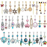 NEW 14G Unique Dangle Belly Button Ring Lot Body Piercing Navel Barbell Jewelry