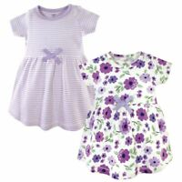 Touched by Nature Baby Organic Cotton Dress 2-Pack, Purple Garden