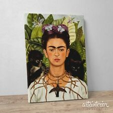Frida Kahlo, Autoritratto con collana di spine, Stampa HR su tela Canvas Quadro