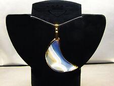 Lederkette, Mond, Achat, blau-milchig-beige, 24 Karat vergoldet, Goldrand