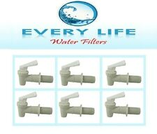 Spigot 6 Pack White Faucet BPA Free with Washers and Nuts Size 3/4 inch