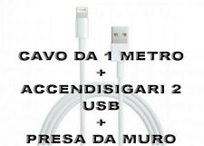 Kit Carica Batteria Auto 2 Usb Per iPhone 6S 6 5S Plus iPod iPad Cavo 1M Light