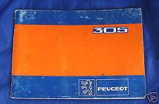 PEUGEOT 305 AUTO D'EPOCA - LIBRETTO USO E MANUTENZIONE