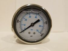 "2-1/2"" ALL STAINLESS STEEL 304 LIQUID FILLED PRESSURE GAUGE WOG 0-1000 1/4"" BACK"