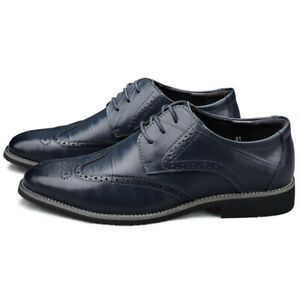 New Business Men's Formal Dress Brogue Carved Pattern Lace-Up Faux Leather Shoes