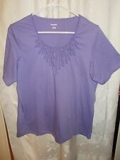 TanJay Orchid Embellished Women's Top Sz Large SS Scoop Neck Cotton Polyester