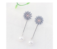 New grey daisy & silver pearl drop/dangling stud earrings-daisy stud detachable
