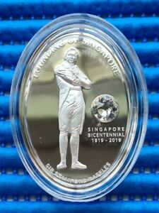 2019 Singapore Bicentennial Sir Stamford Raffles 1 oz Silver Proof Medallion