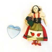 "Vintage Italian Costume Plastic Plaster Souvenir Doll 7"" Tall Red Dress Basket"