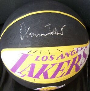 Jerry West autographed signed Lakers logo regulation size rubber basketball ball