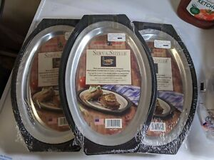 New Nordic Ware Steak & Fajita Serv A-Sizzler Platter Holder, NEW  LOT OF 3