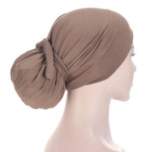 Muslim Women's Cap Hair Loss Turban Hat Head Scarf Wrap Bandana Hijab Decoration