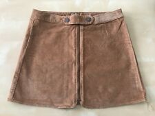 Authentic ZARA Girl's Front Zip Moleskin Skirts Mid Camel Size 11/12 152cm
