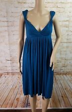 Anthropologie Womens Teal Open Back Jersey Dress Size S Pleated Tie Back Stretch