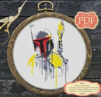 Watercolor Boba Fet - Cross stitch PDF pattern Modern Embroidery Hoop Art #013